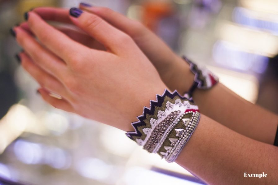 Bracelet Maheswari - Black/Corail | Photo 4