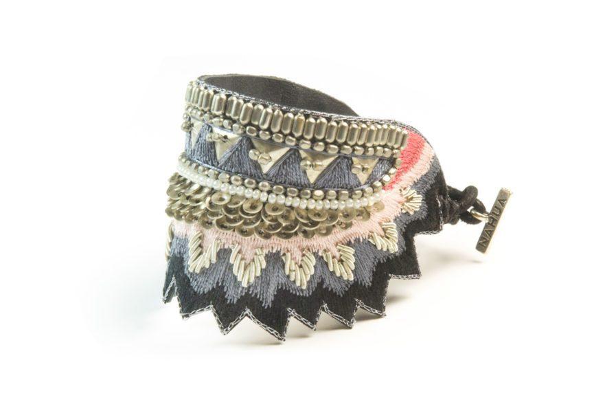 Bracelet Maheswari - Black/Corail | Photo 2