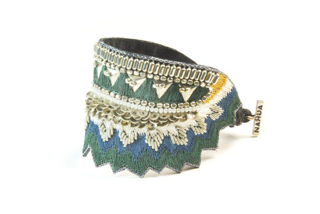 Maheswari bracelet - Green/Honey