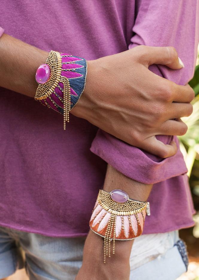 Bracelet Brahma - Grey/Raspberry | Photo 1