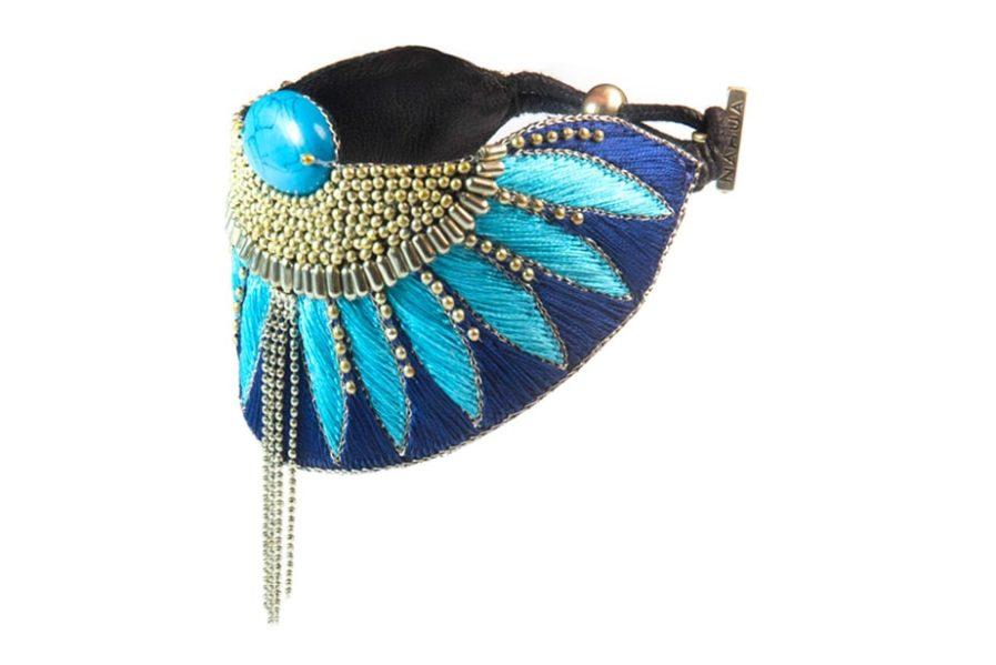 Bracelet ethnique Brahma | Marine/Turquoise | Photo 2