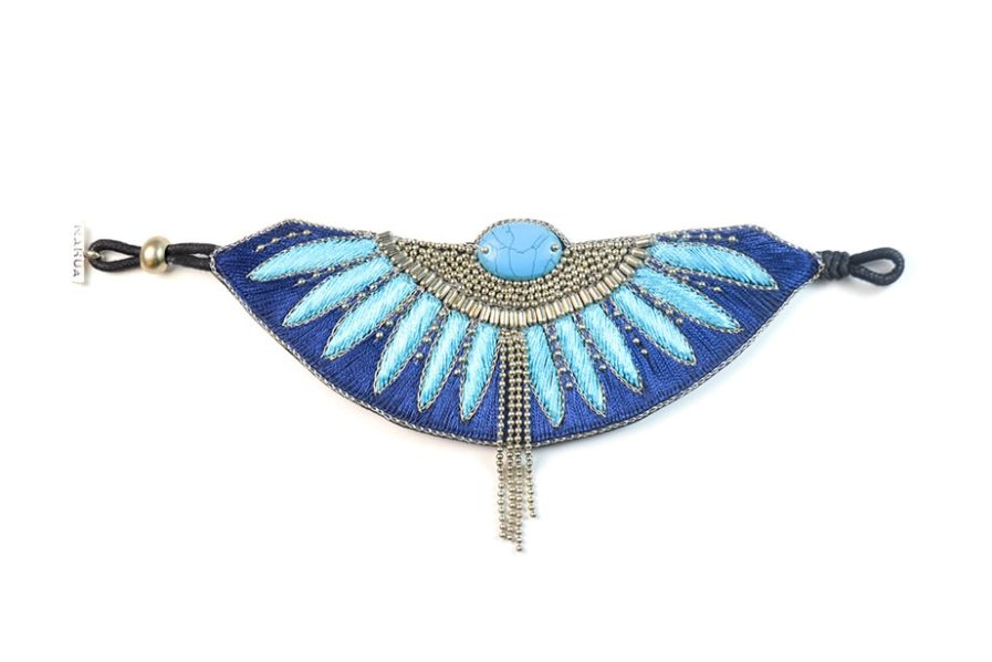 Bracelet ethnique Brahma | Marine/Turquoise | Photo 3