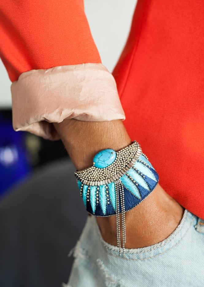 Bracelet ethnique Brahma | Marine/Turquoise | Photo 1