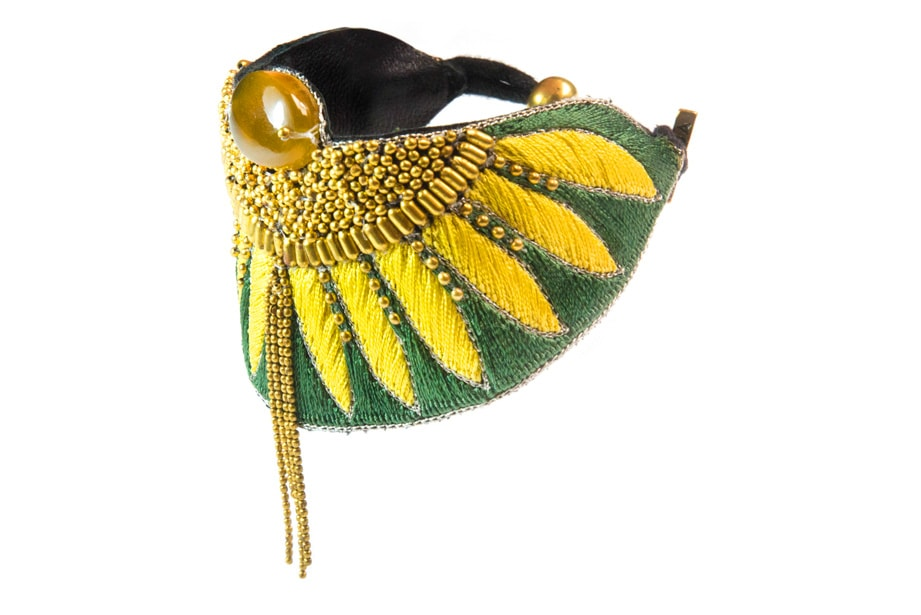 Brahma embroidered bracelet - Palm/Honey
