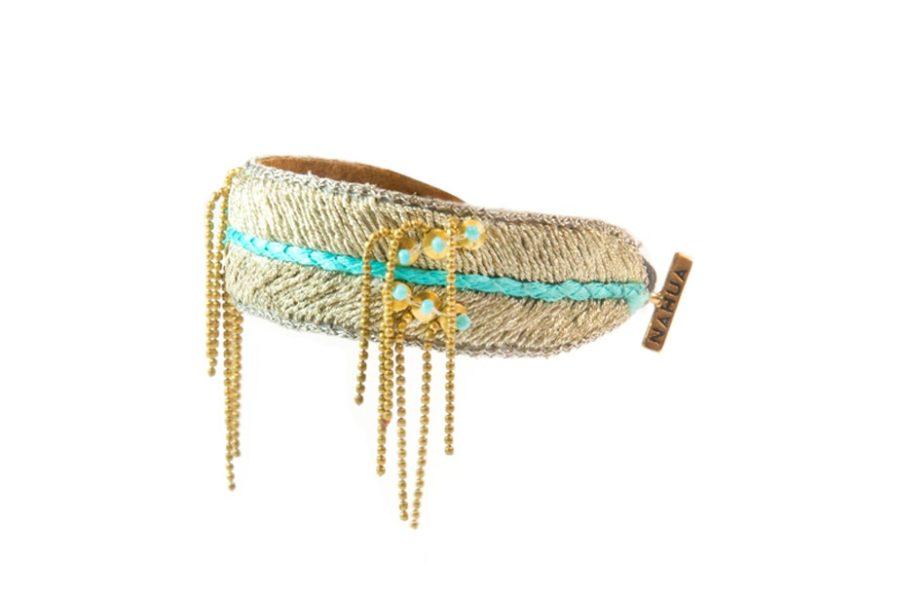 Bracelet brodé Dita - Turquoise   Photo 2