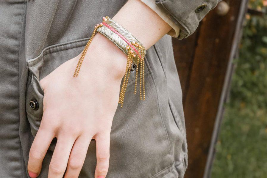 Bracelet brodé Dita - Pink   Photo 1