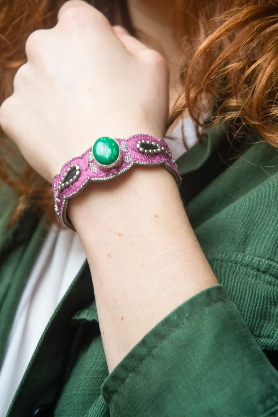 Bracelet chic Opaline | Green/Purple | Photo 1