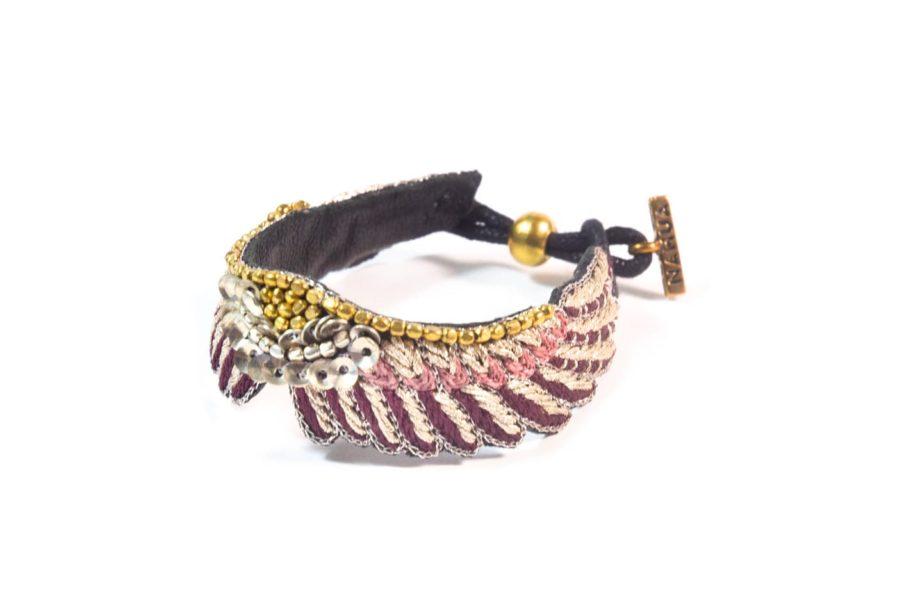 Bracelet boho Shaila - Prune/Make Up   Photo 2