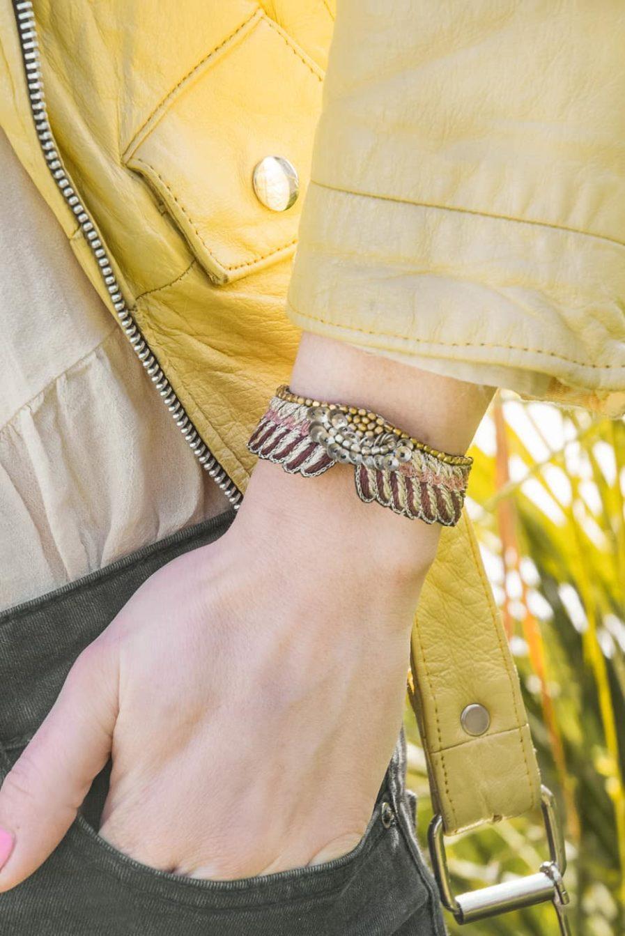 Bracelet boho Shaila - Prune/Make Up   Photo 1
