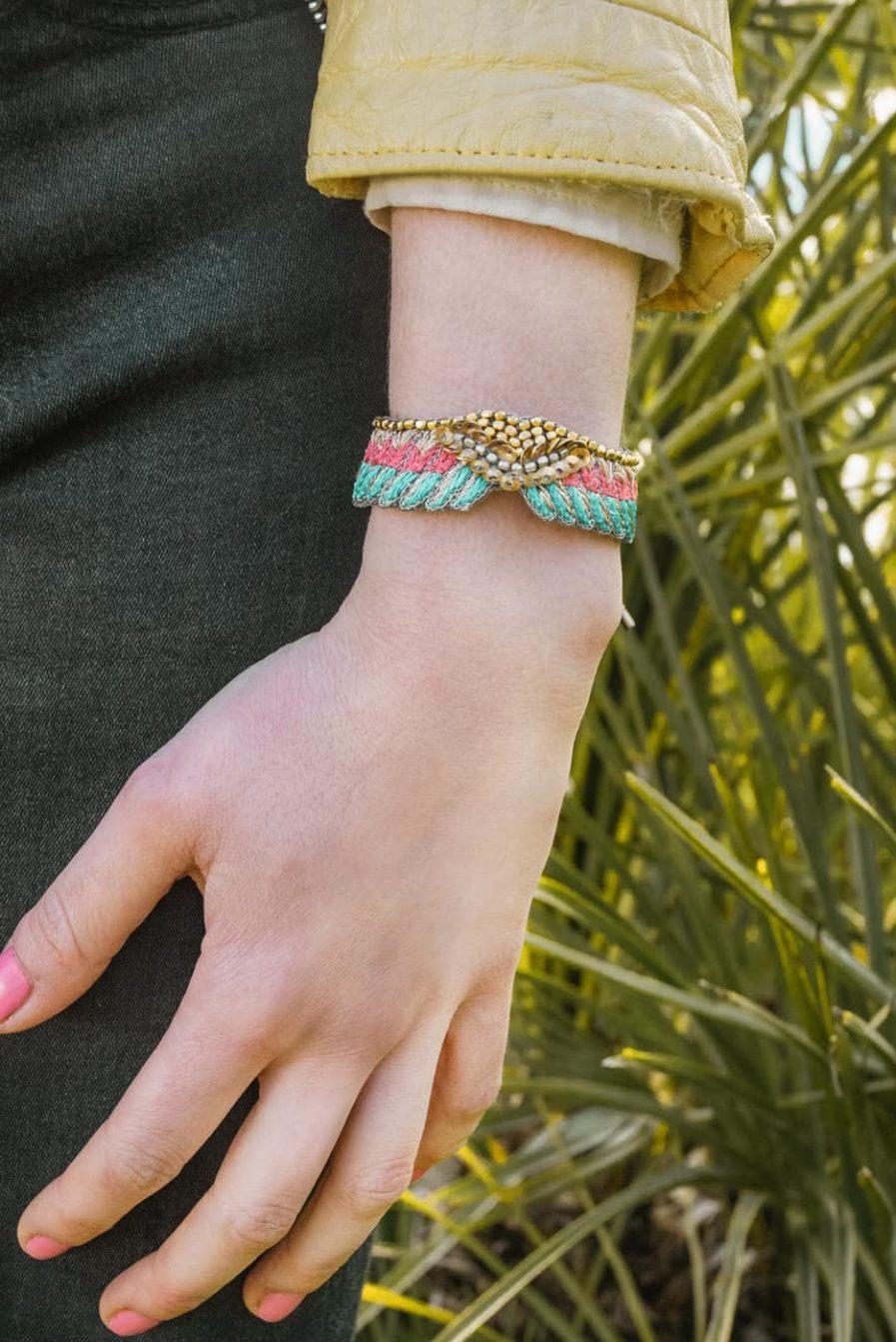 Bracelet bohème Shaila   Turquoise/Pink   Photo 1