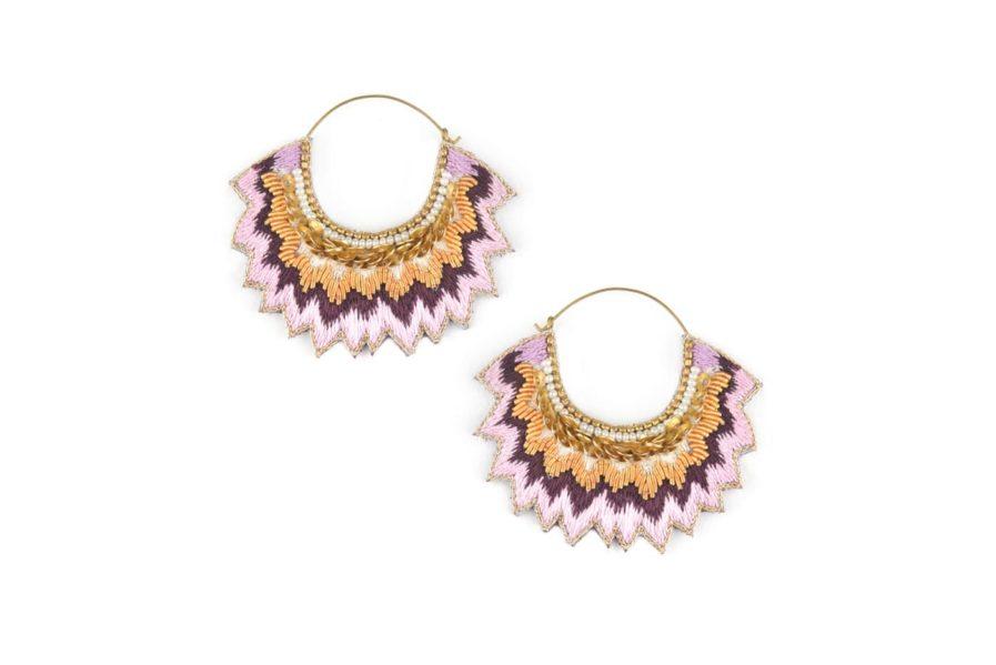 Boucles d'oreilles brodées Maria | Purple | Photo 2