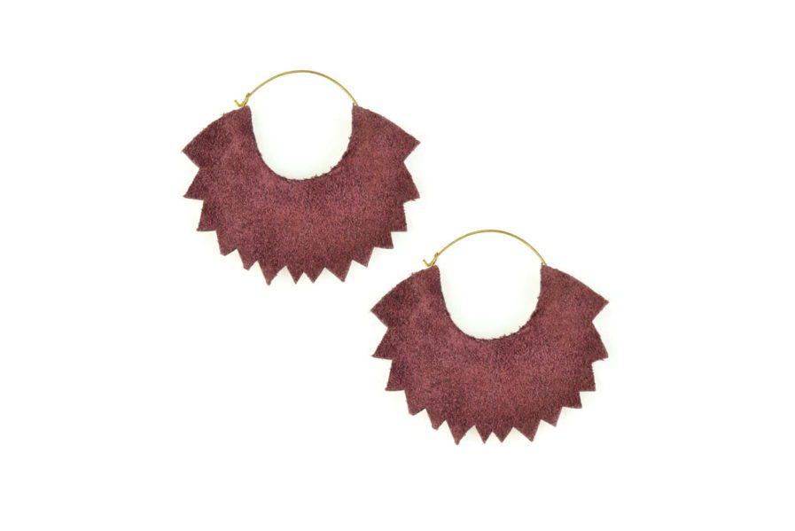 Boucles d'oreilles brodées Maria | Purple | Photo 3