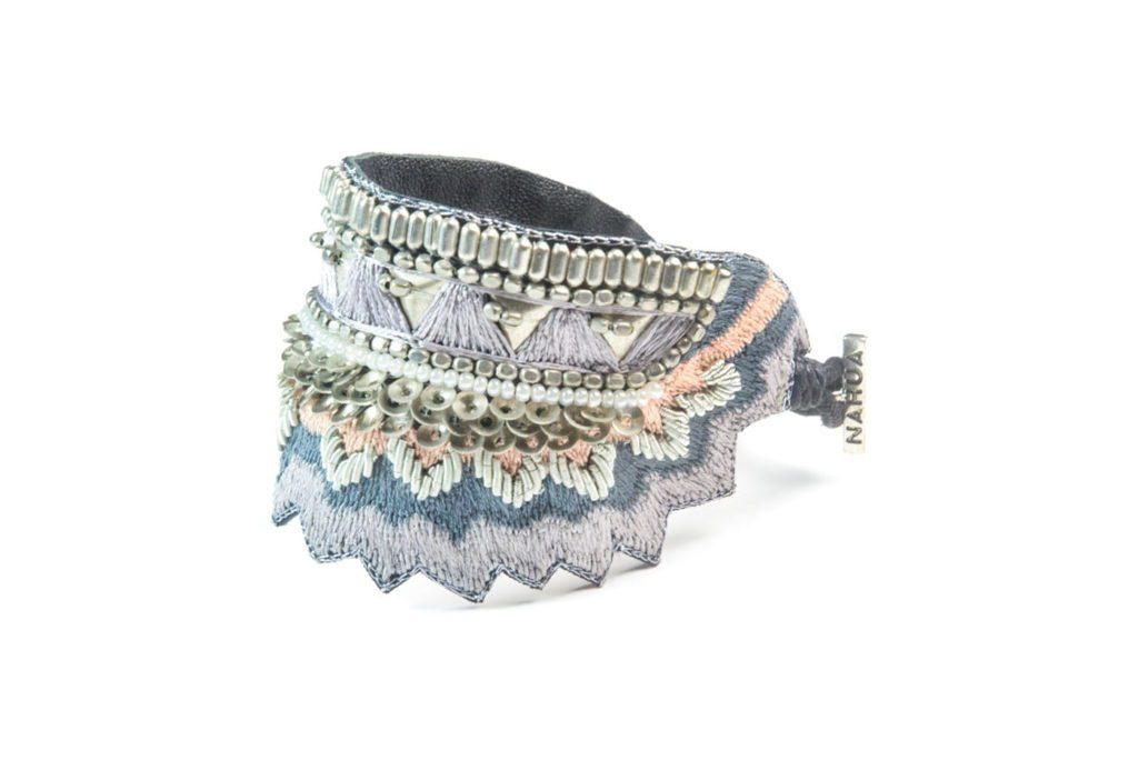 Bracelet ethnique Maheswari | Grey/Powder