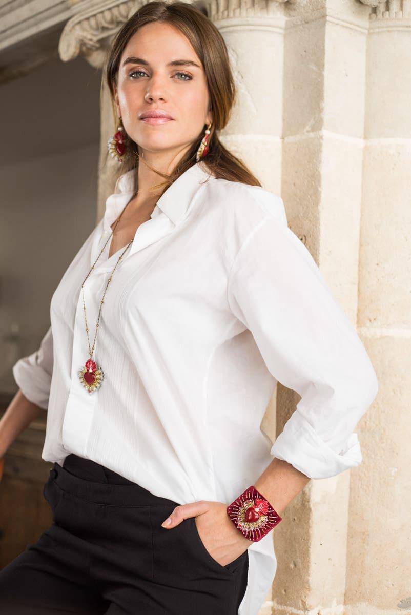 Bangle en velours Rosemary | Rouge | Photo 4