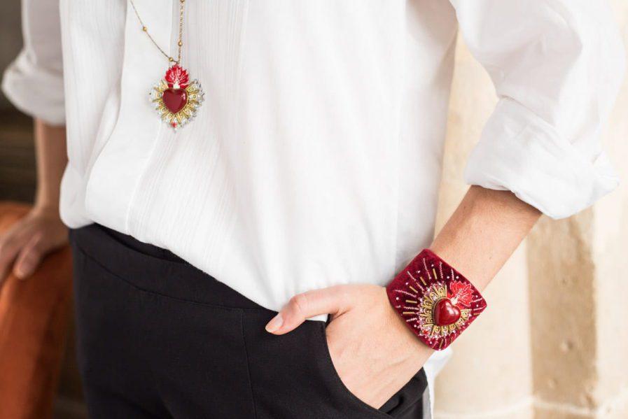 Bangle en velours Rosemary | Rouge | Photo 1