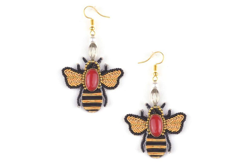 Boucles d'oreilles abeille Royan | Rouge