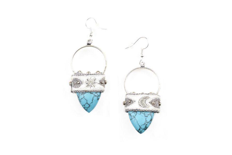 Boucles d'oreilles bohèmes Kalo | Light/Turquoise