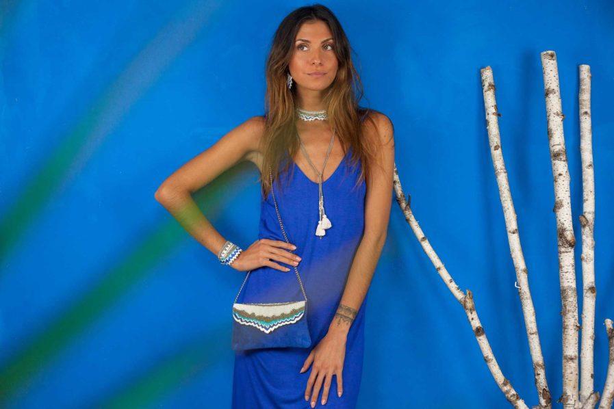 Bracelet ethnique Maheswari   Blue greek