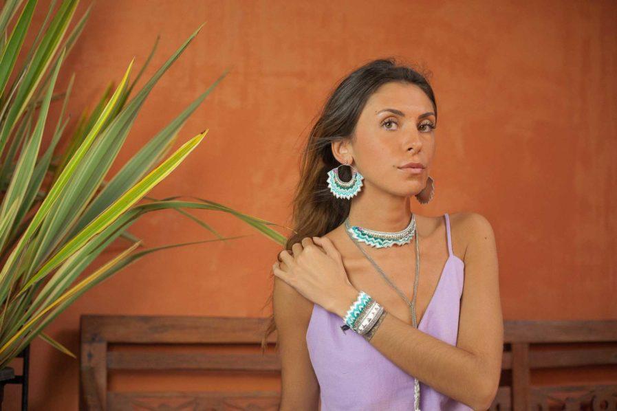 Boucles d'oreilles brodées Maria | Amazonia