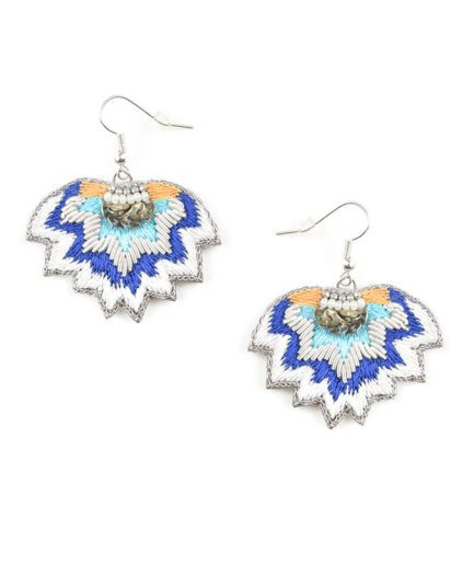 Boucles d'oreilles ethniques Madi | Greek blue
