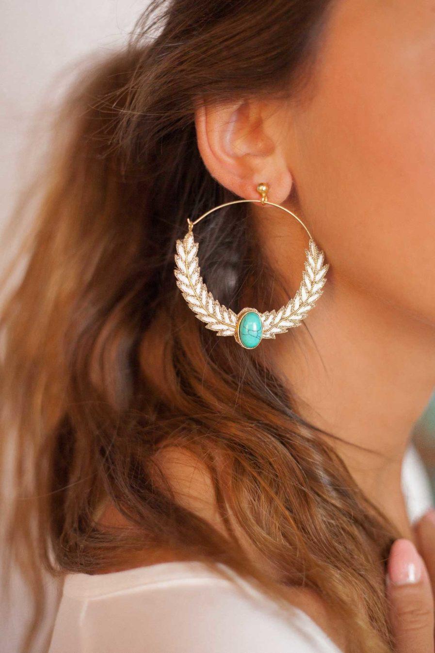 Boucles d'oreilles créoles Lorna | Off-White
