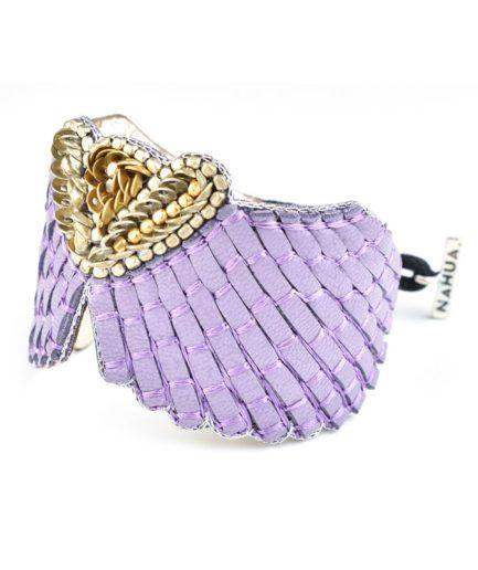 Bracelet cuir Angy | Mauve