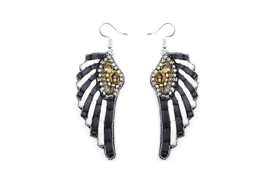 Boucles d'oreilles rock Anita   Black/White Stripes