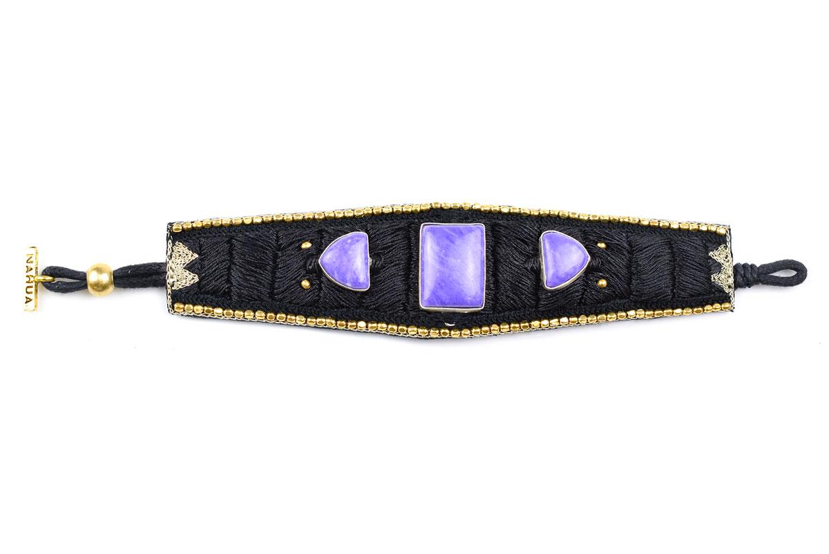 Manchette bohème Kahina | Charoite violette