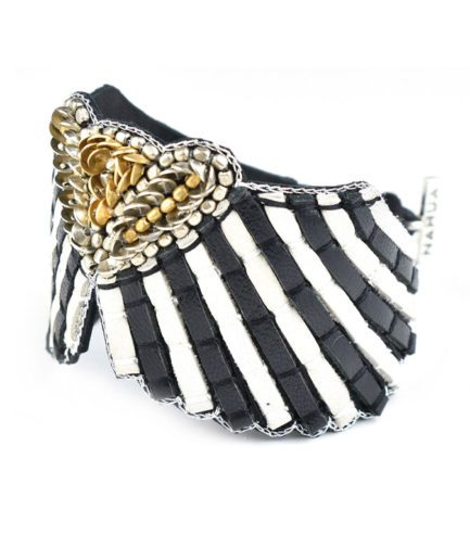 Bracelet cuir Angy | Black/White Stripes