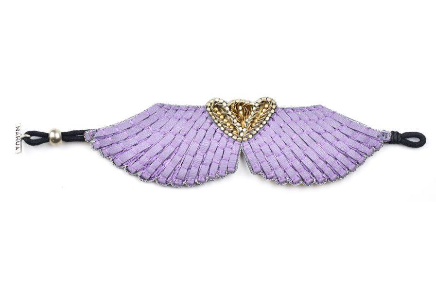 Bracelet cuir Angy   Mauve