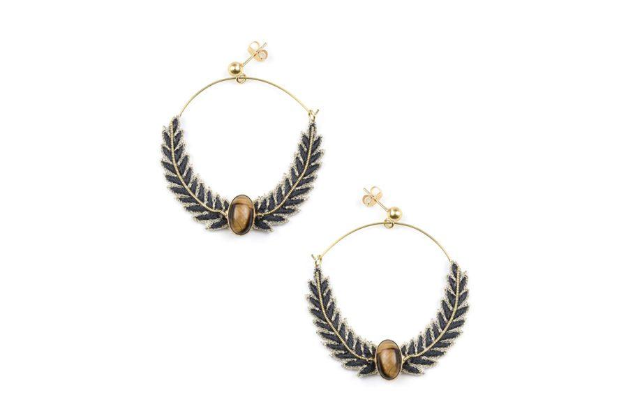 Boucles d'oreilles créoles Lorna | Carbone