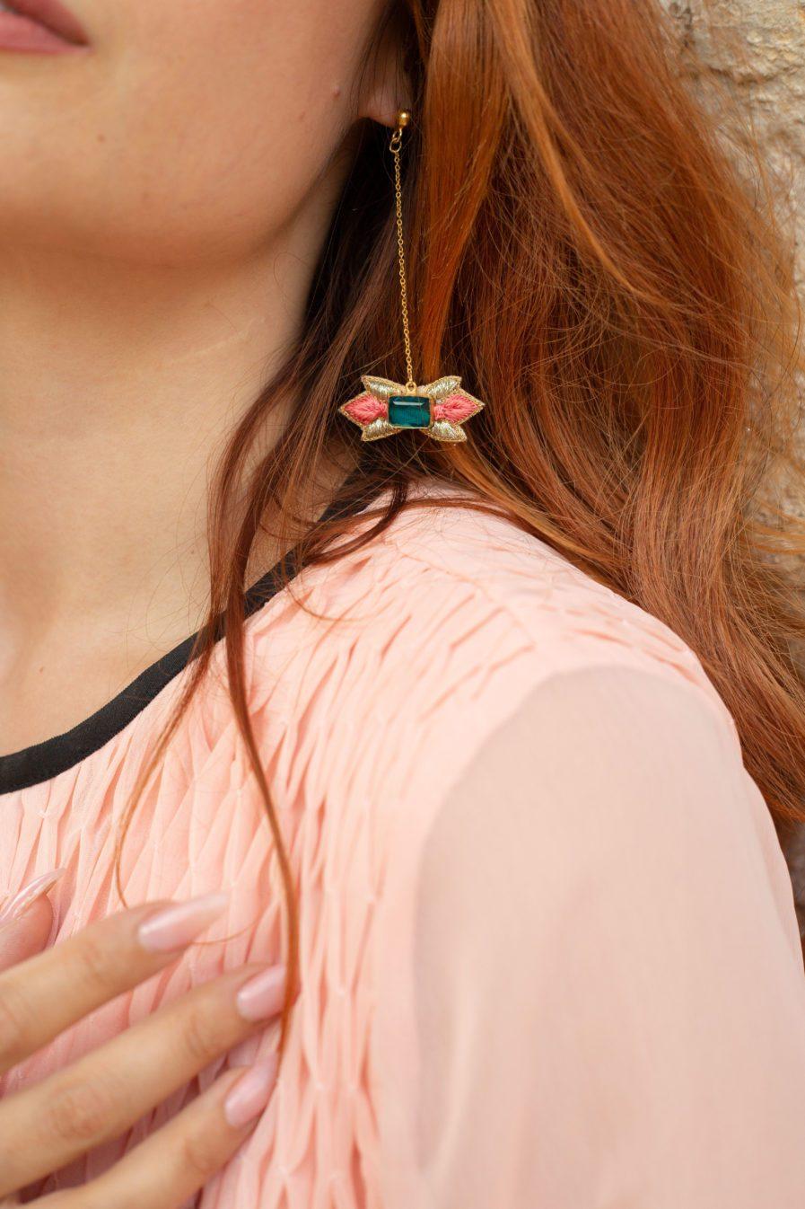 Boucles d'oreilles chic Prema | Peach