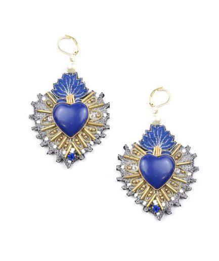 Boucles d'oreilles sacré coeur Rosa | Blue