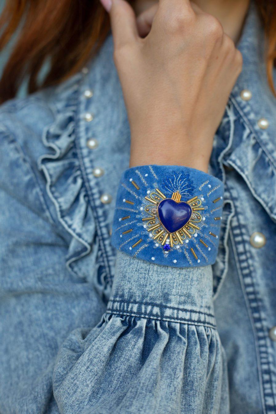 Bangle en velours Rosemary | Blue